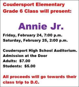 2-25 Coudersport Grade 6 Presents Annie Jr.