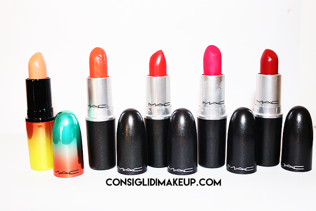 swatch red fuxia lipstick mac
