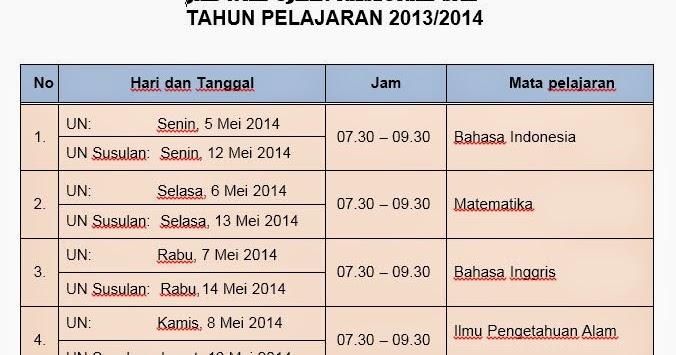 Jadwal Ujian Sekolah Un Uts Us Genap Tahun Pelajaranl 2013 2014 Smpn 1 Situbondo Smp