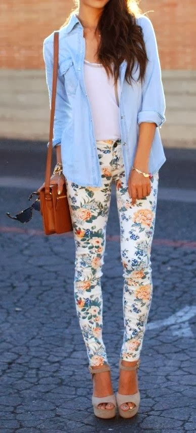 floral tights with jeans shirt and handbag