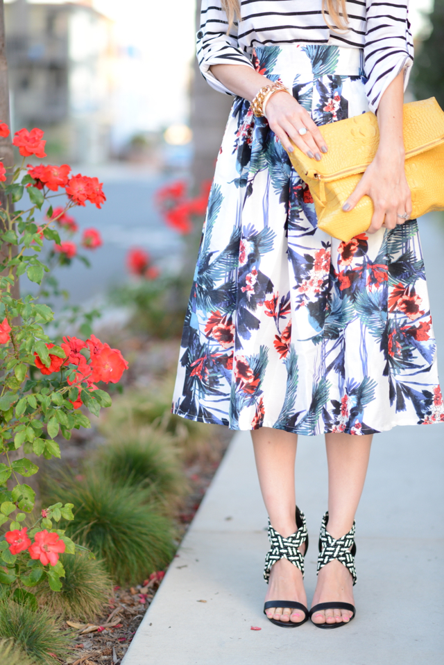 floral skirt and justfab heels via M Loves M