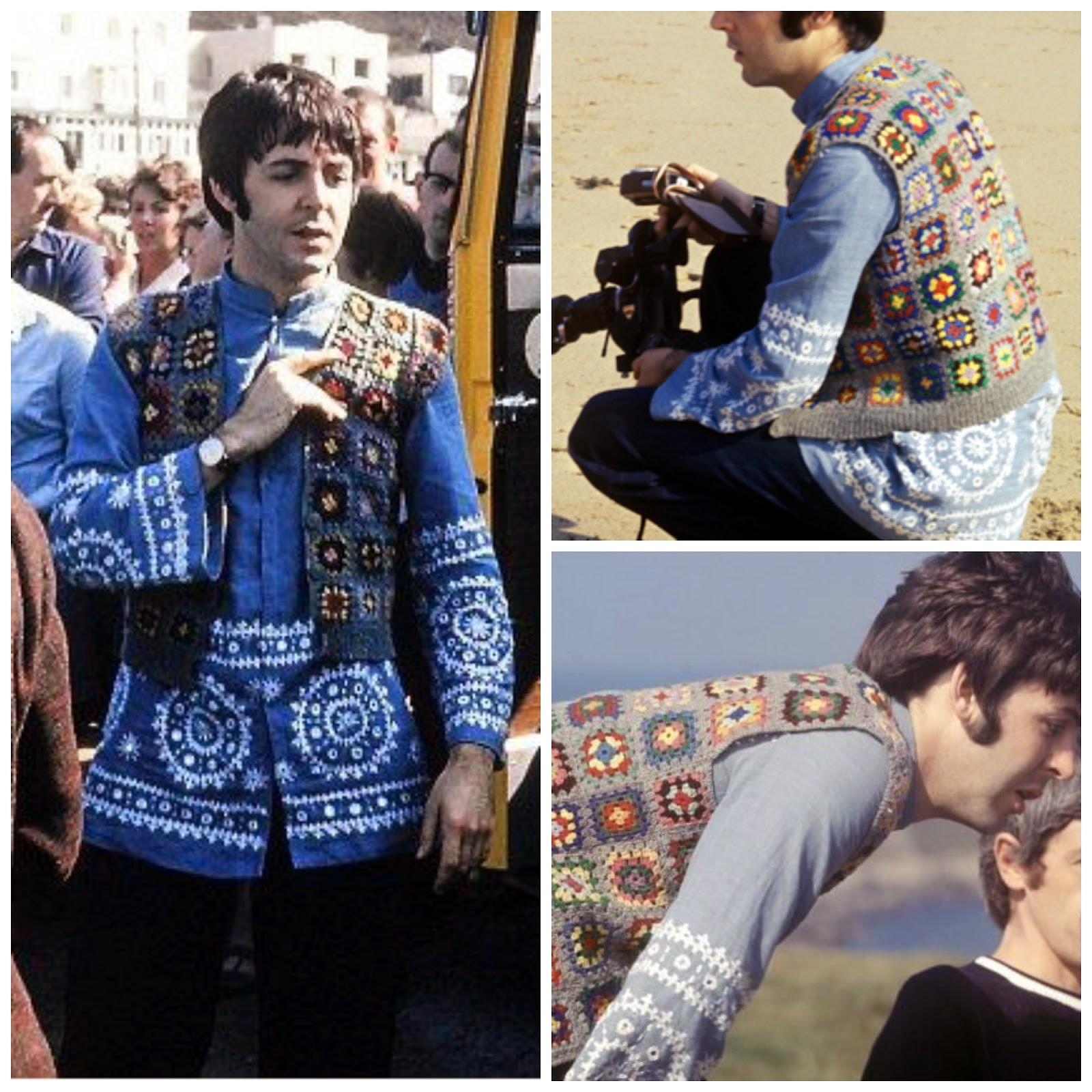 image of Paul McCartney's Crochet granny square waistcoat