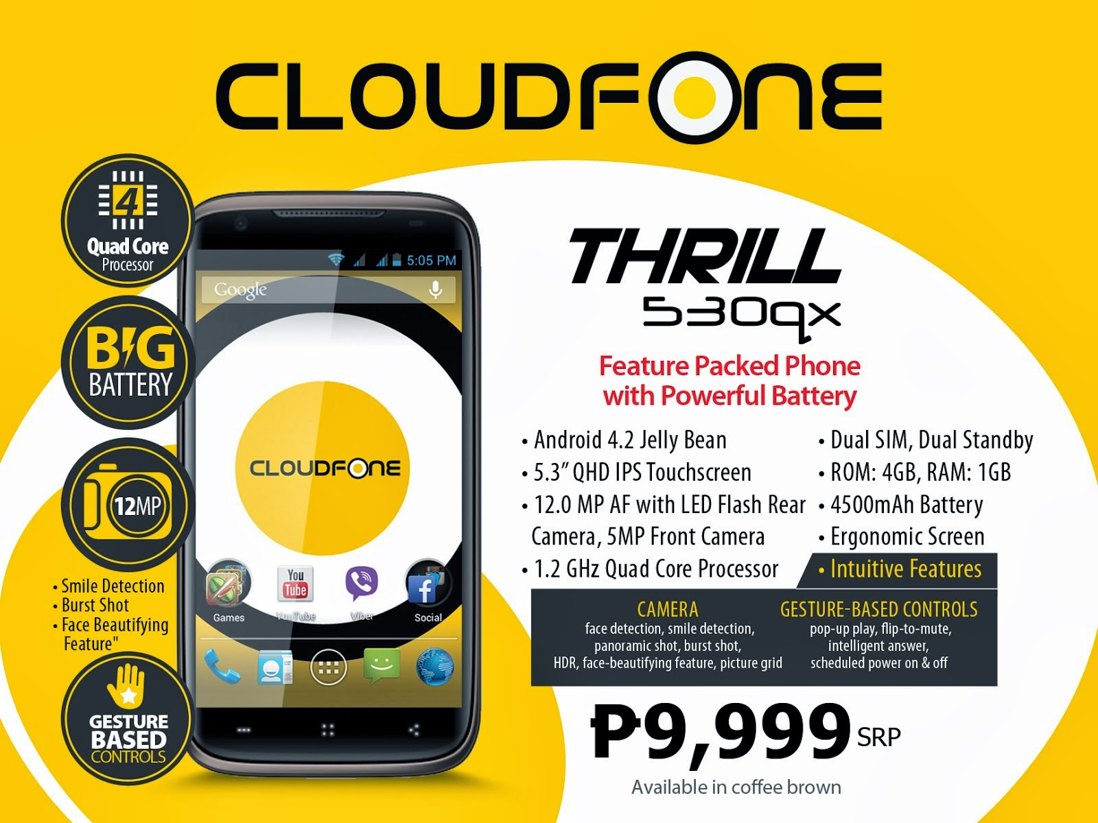 0ec6429e381 The CloudFone Thrill 530QX runs on a Android 4.2 Jelly Bean and powered by  1.2GHz quad-core MediaTek MT6589M processor. Other features of this new ...