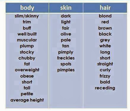 Click on: VOCABULARY TO DESCRIBE PEOPLE'S APPEARANCE & PERSONALITY