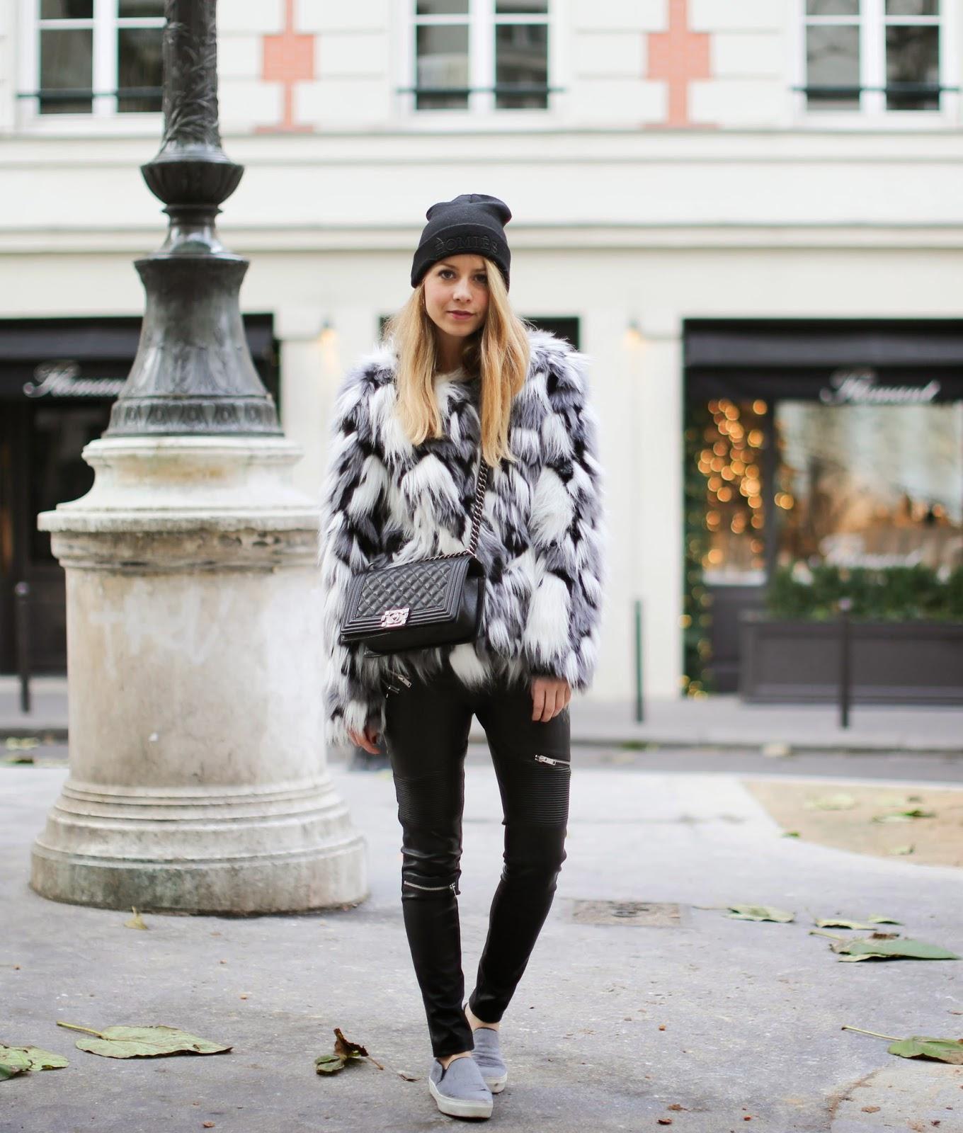 fur, vero moda, beanie homies, céline, zara, biker pants, chanel, fashionblogger, streetstyle, paris