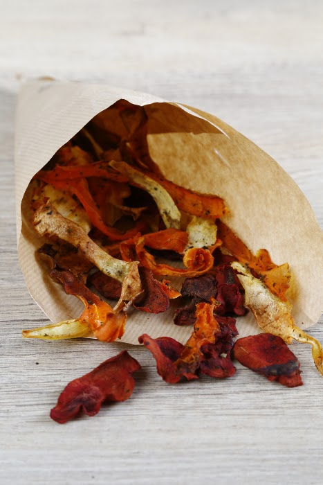 A cone of root vegetable crisps made from carrots, parsnips and beetroots.