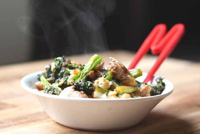 Spicy Chicken and Broccolini Stir Fry recipe by Barefeet In The Kitchen