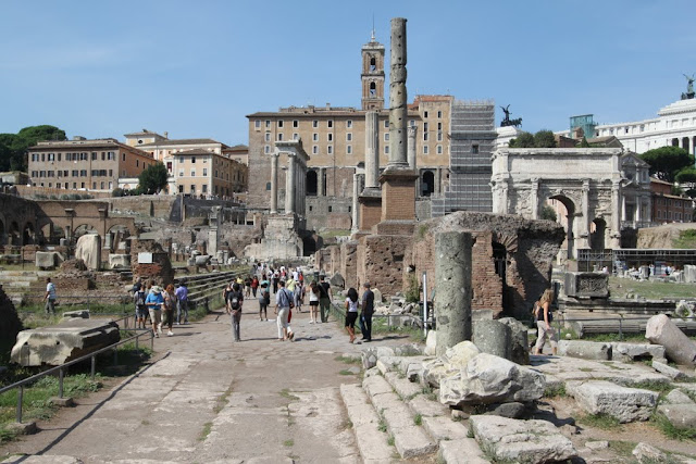 The main square of the Roman Forum in Rome, Italy