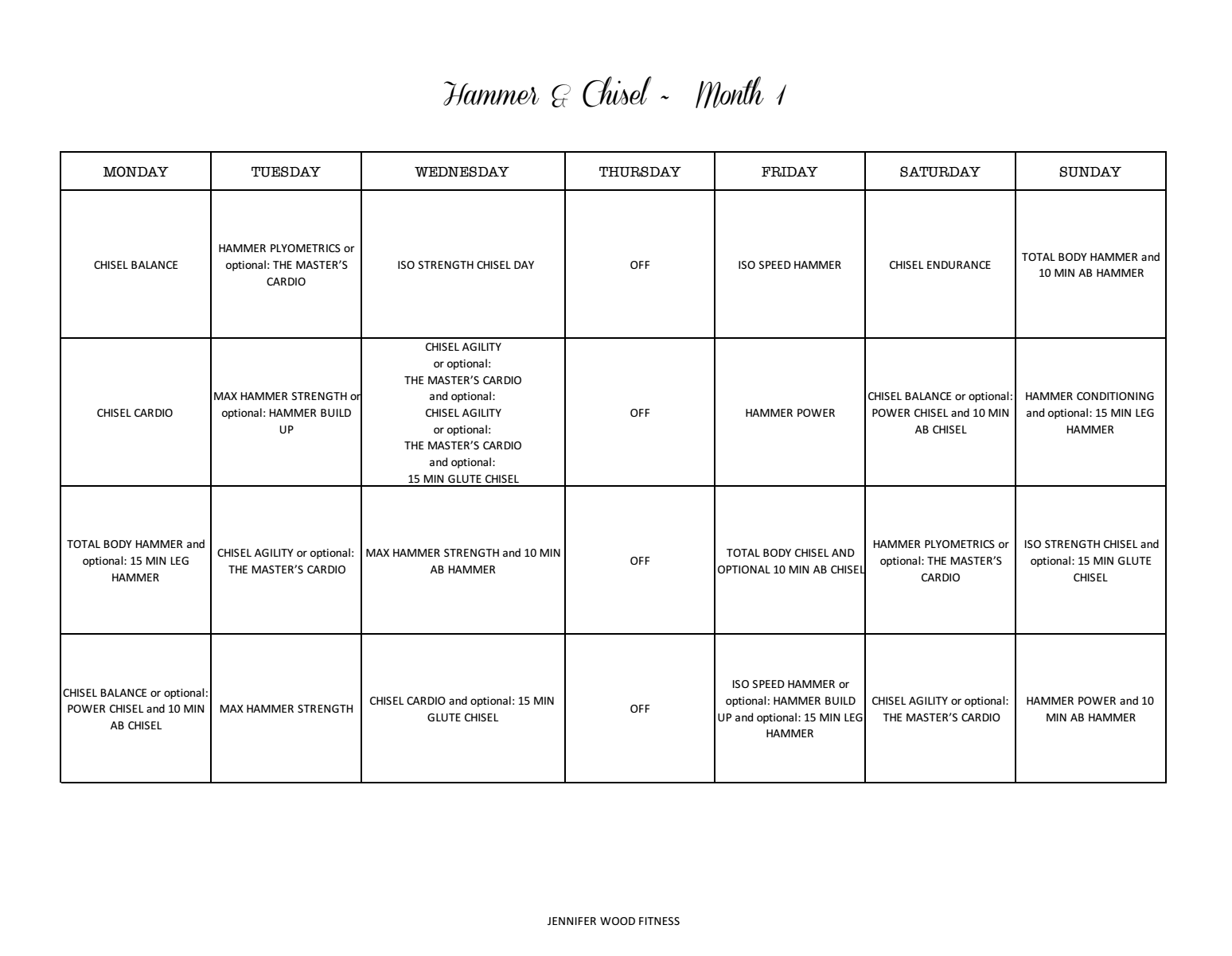 picture relating to T25 Schedule Printable titled Jennifer Picket Health : Hammer and Chisel Exercise session Printable