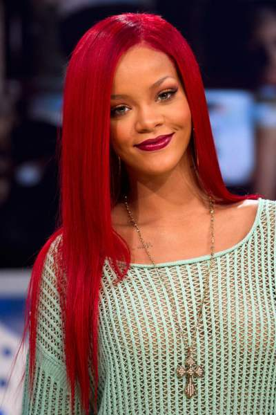 rihanna red hair curly hair. rihanna red hair. rihanna red