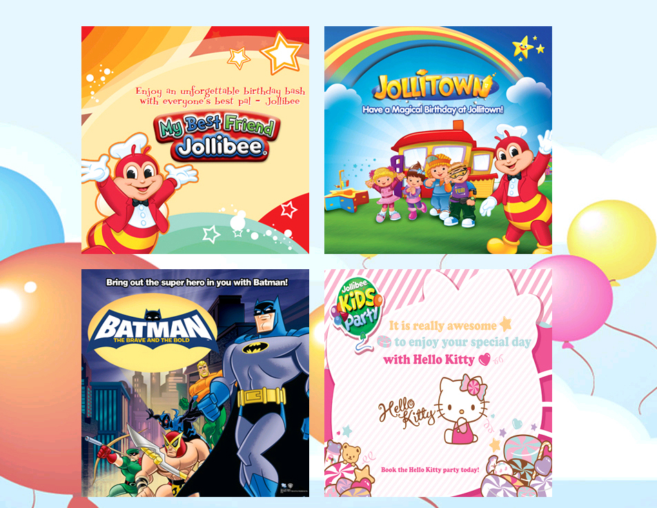 Jollibee+Kids+Party+Themes+Batman+Hello+Kitty+Jolllitown Jollibee Kids Party now has Hello Kitty on its Party Themes