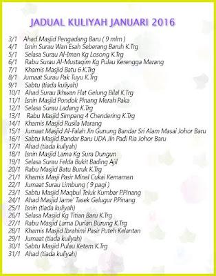 Jadual Kuliah Ustaz Azhar Idrus Bulan JANUARI 2016