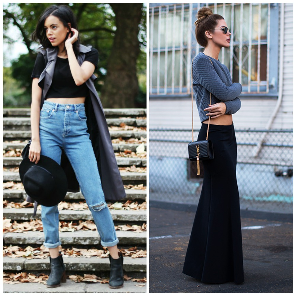 crop top + sleeveless jacket longline + mom jeans + ankle boots - cropped knit sweater + maxi skirt - fashion blogger outfit fashion trend autumn fall 2014 street style