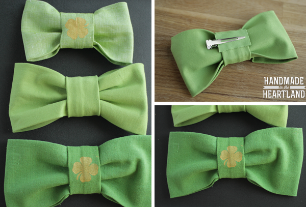 St. Patricks Day Green Bows with Gold Shamrocks