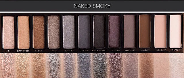 Paleta Urban Decay Naked Smoky - Swatches