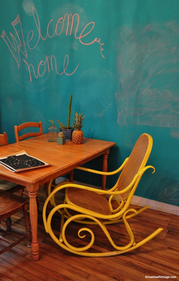 bentwood rocker Chalkboard paint, Martha Stewart chalk board paint recipe kitchen accent wall yellow rocking chair