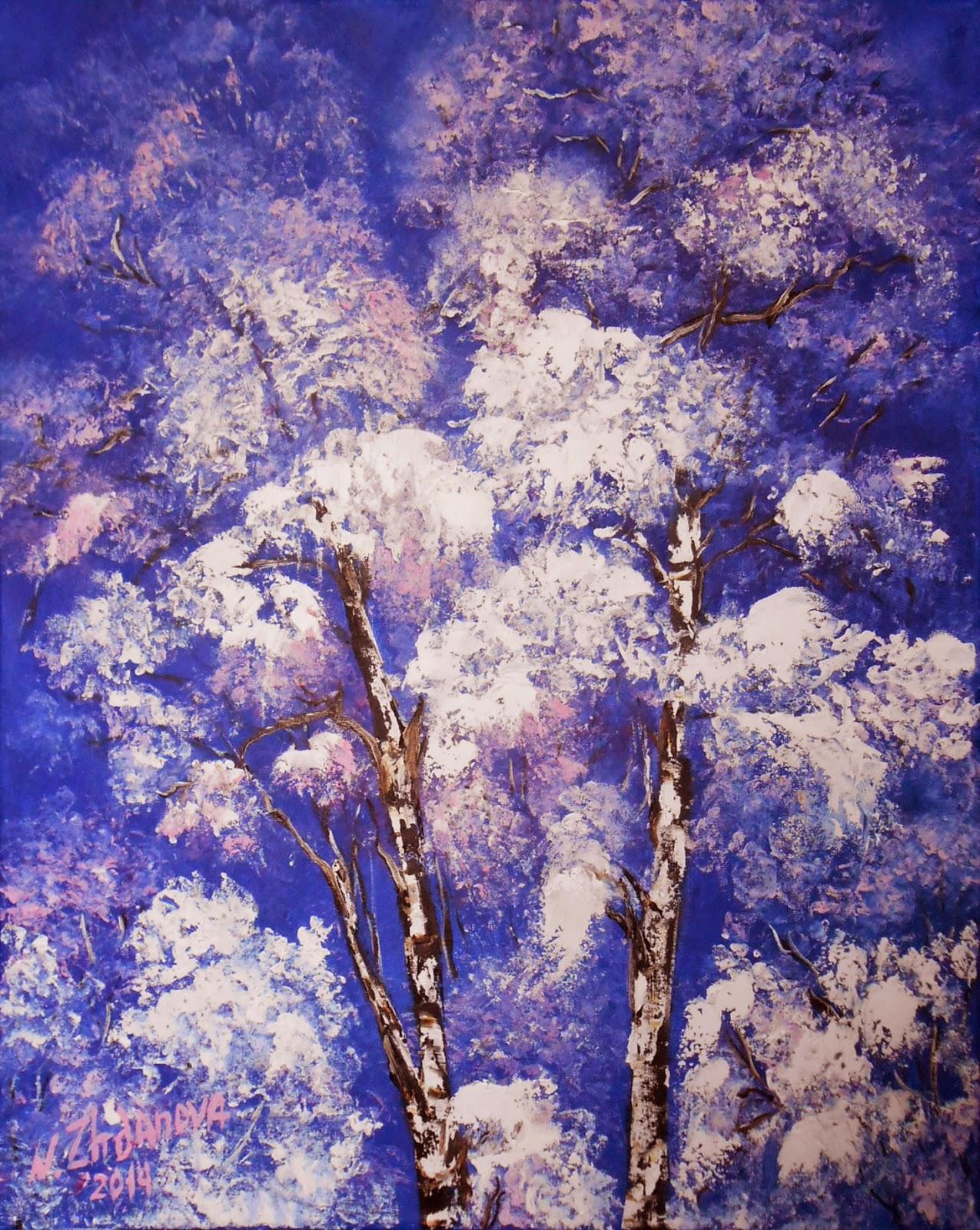 Зимний пейзаж маслом картина для интерьера