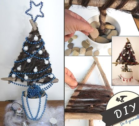 triangle Christmas tree made with drift wood sticks
