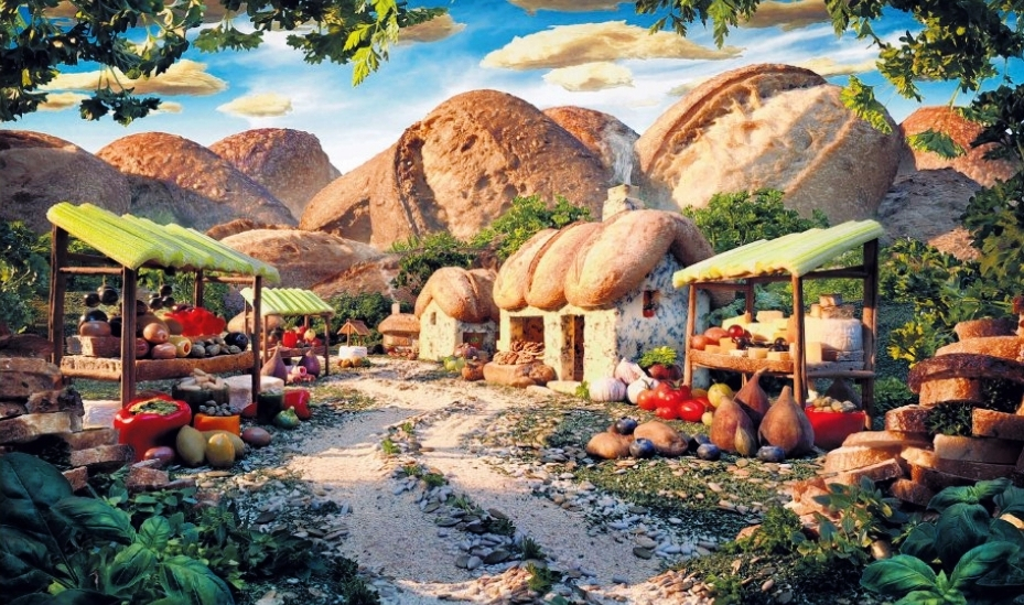 SURREAL: The Bread Village was a commission from the La Brea Bread Company for a poster campaign in Ireland. Mr Carl Warner said that a model maker built the houses out of blue cheese and constructed the stalls for the country market.
