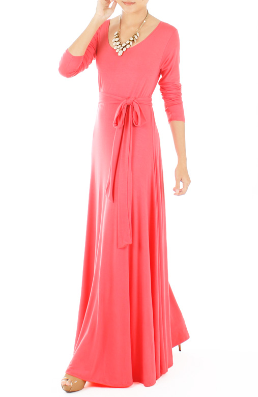 Endless Dream Long Sleeve Maxi Dress – Salmon Pink