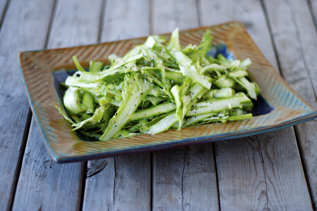 Raw Asparagus Salad with Parmesan Dressing