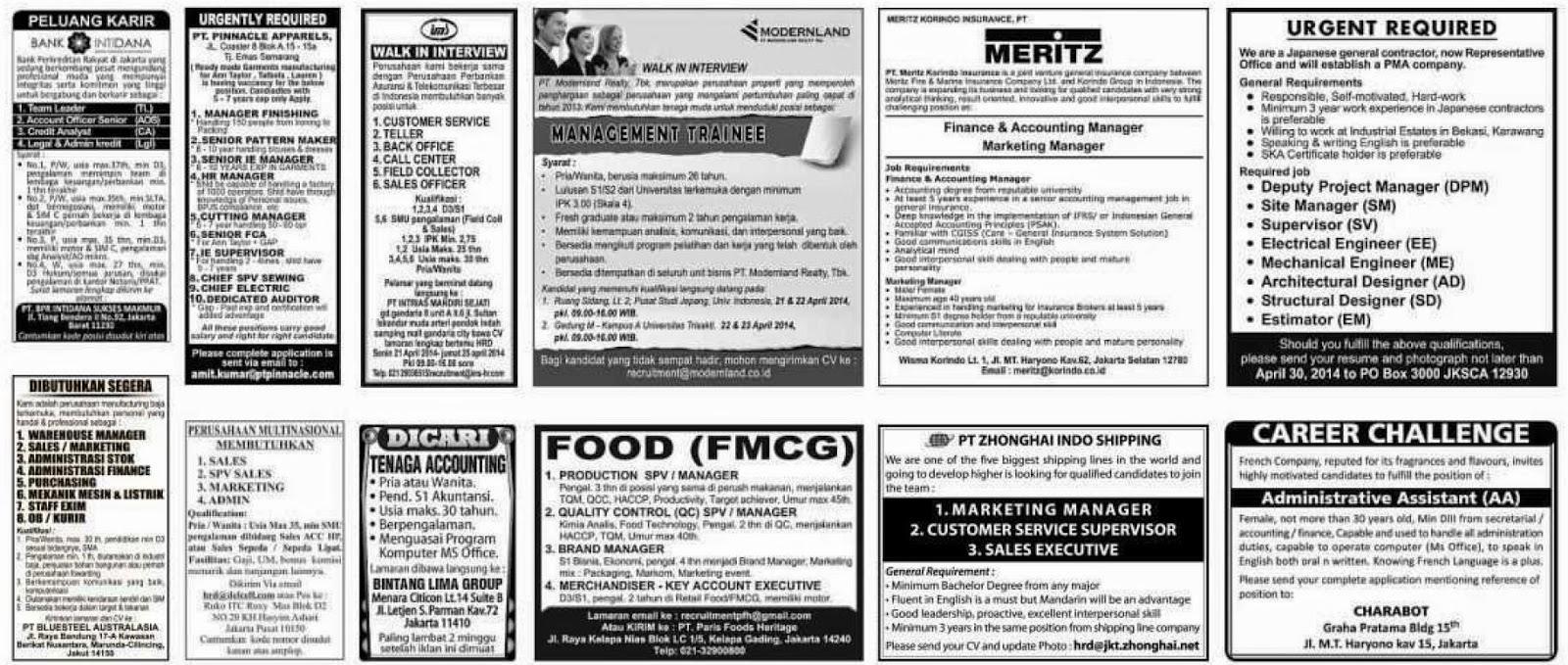 Lowongan kerja koran kompas Sabtu 19 April 2014