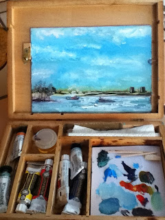 plein air in a car, Niagara River, Iceboats, Kathy Schifano