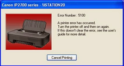 Error 5100 pada printer Canon