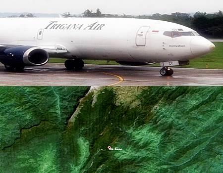 Foto Pesawat Trigana Air ATR 42-300 Hancur Menabrak Gunung di Distrik Okbape, Bintang, Papua