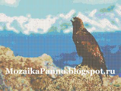 Картина из стеклянной мозаики «Коршун на скале»