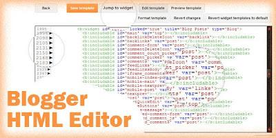 Tampilan Blogger Template HTML Editor  Terbaru dari Google