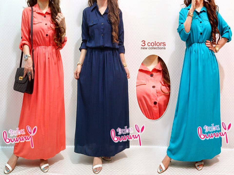 Half Button Basic Jubah Dress