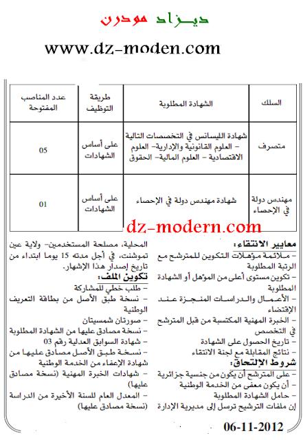 اعلان مسابقة توظيف بمديرية الإدارة المحلية ولاية عين تيموشنت نوفمبر 2012