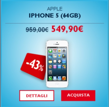 Outlet TIM vende Apple iPhone 5 64 GB al prezzo di soli 549,90 euro