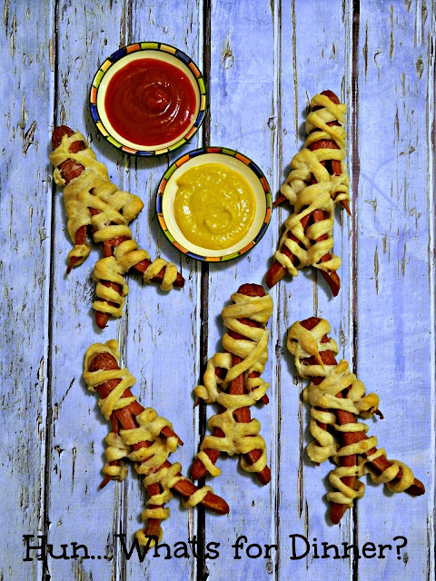Hun... What's for Dinner? Dough Wrapped Mummy Dogs, perfect for Halloween!