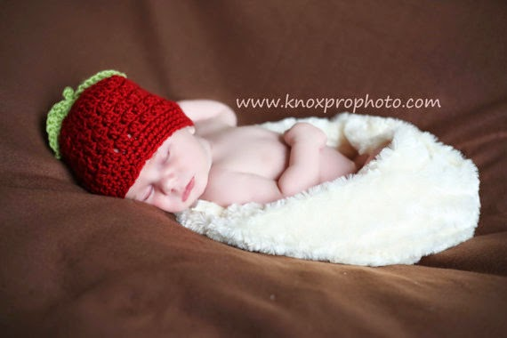 Lakeview Cottage Kids Red Apple Crochet Baby Hat Free Pattern