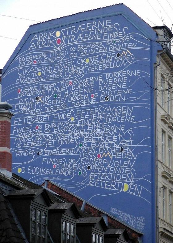 Gavlmaleri fra Stefansgade med digte fra Inger Christensen, Alfabet
