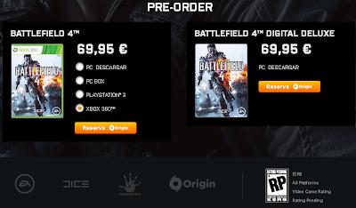 Página de reserva del juego Battlefield 4