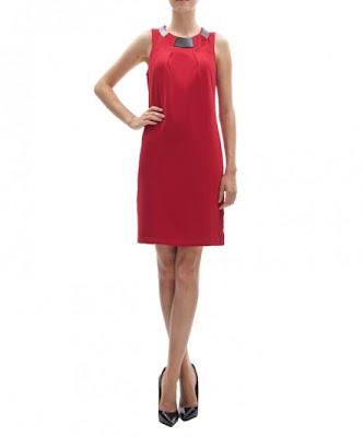 koton kırmızı klasik kesim elbise , günlük elbise, yaka detaylı oldukça şık bir model