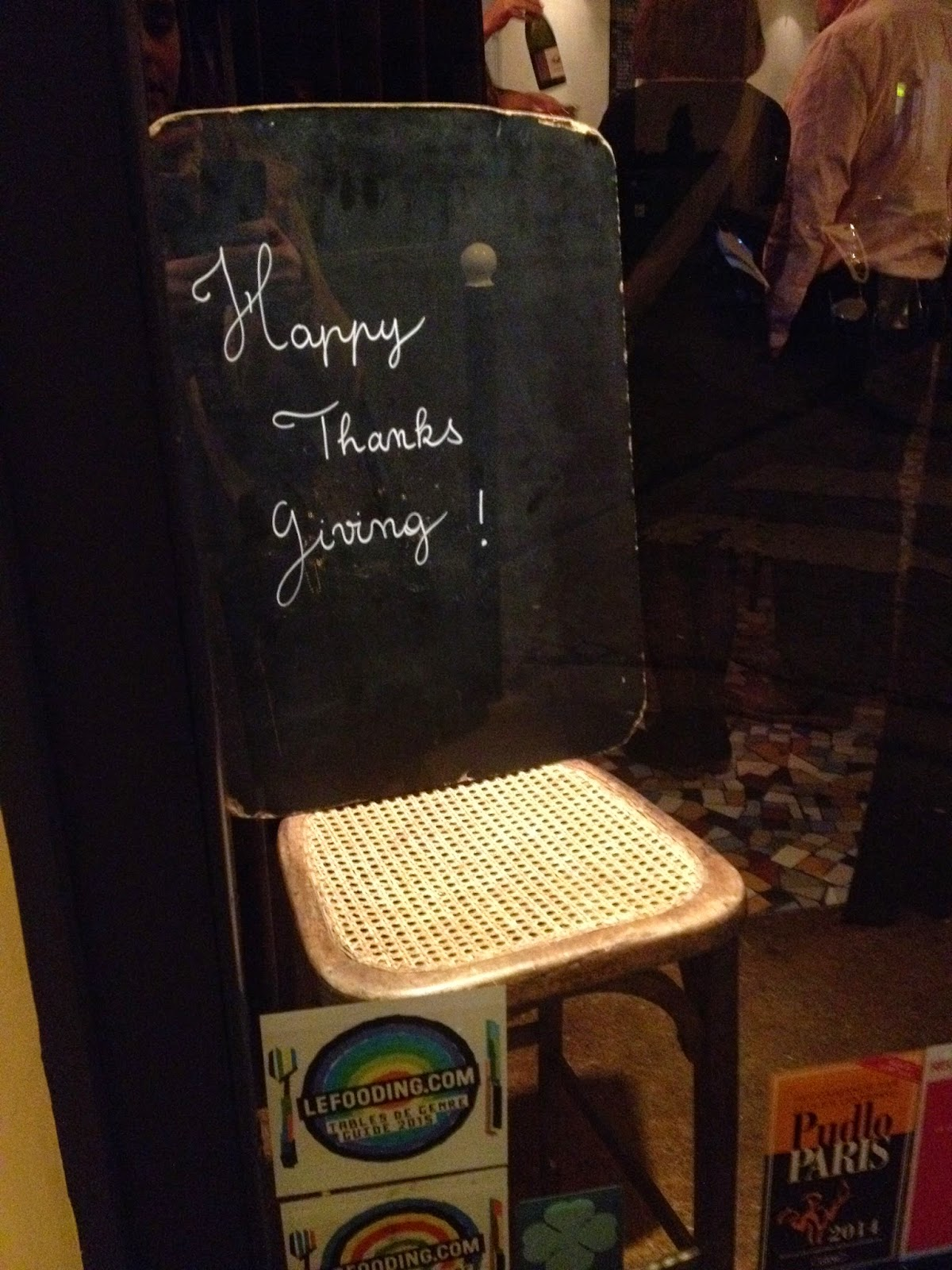 Thanksgiving sign at Café de Mars, Paris