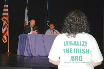 Irish Lobby for Immigration Reform  supporter Bernadette Gibbons testifiying in support of comprehensive immigration reforrm at an Immigration Town Hall meeting held at Laguardia Community College in 2007