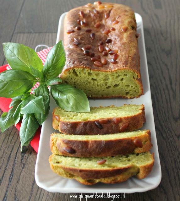 Q.b.-Quanto Basta.: Cake salato al pesto di basilico e pinoli