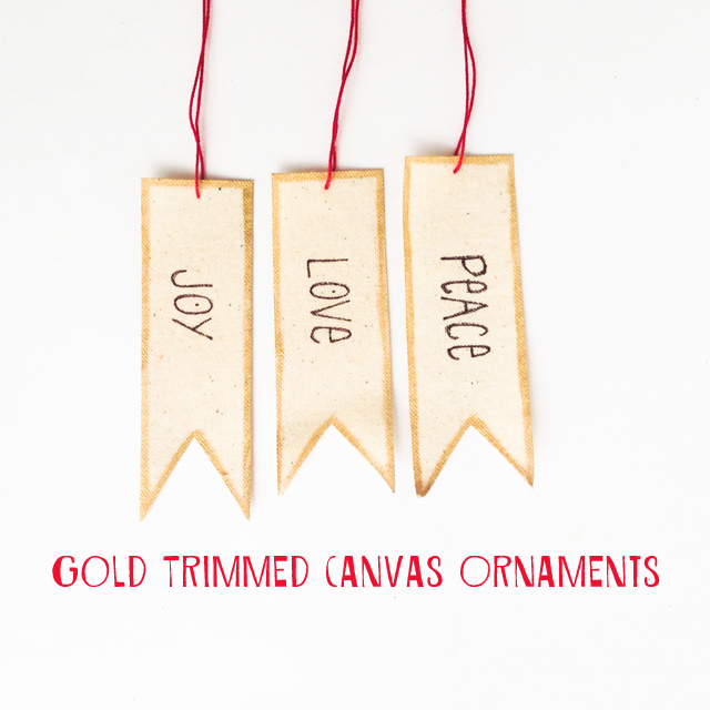 DIY - Gold Trimmed Canvas Ornaments from MamaBleu.com