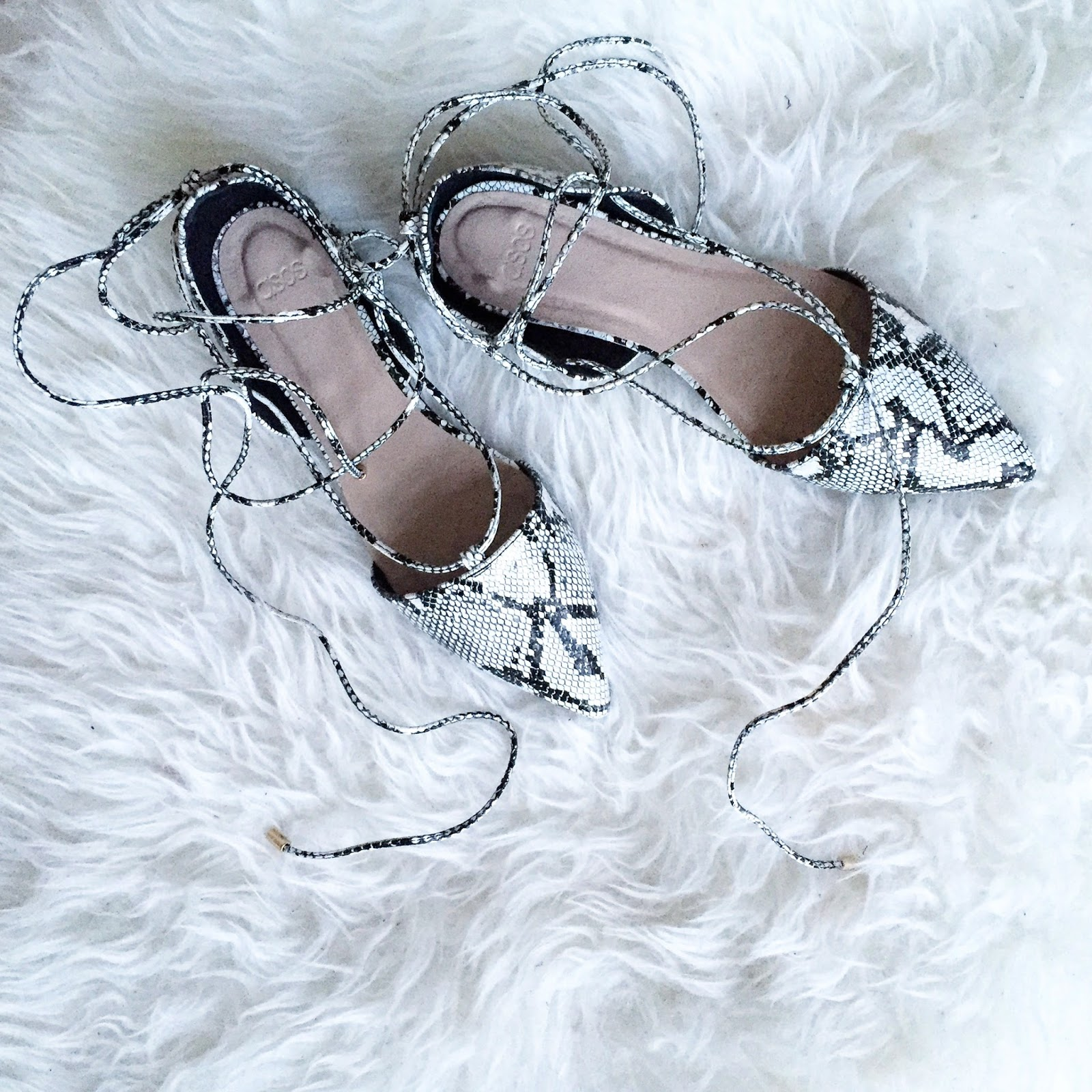 neutral black and white snake skin lace up flats from ASOS