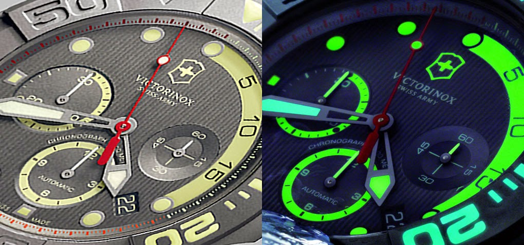Comparison of Victorinox Swiss Army Limited Edition Titanium Dive Master 500 dial in light and dark lume