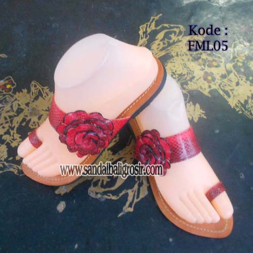 sandal flat leather mawar