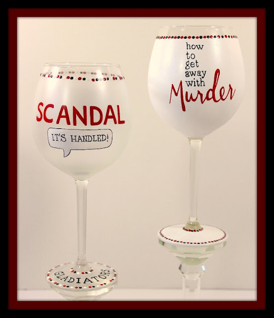 Scandal and How To Get Away With Murder Wine Glasses