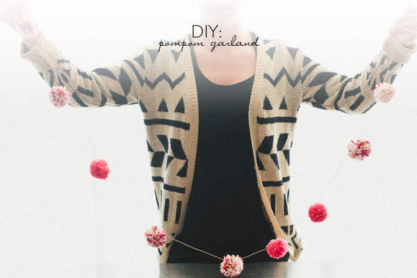 diy, pom poms, garland, style me pretty