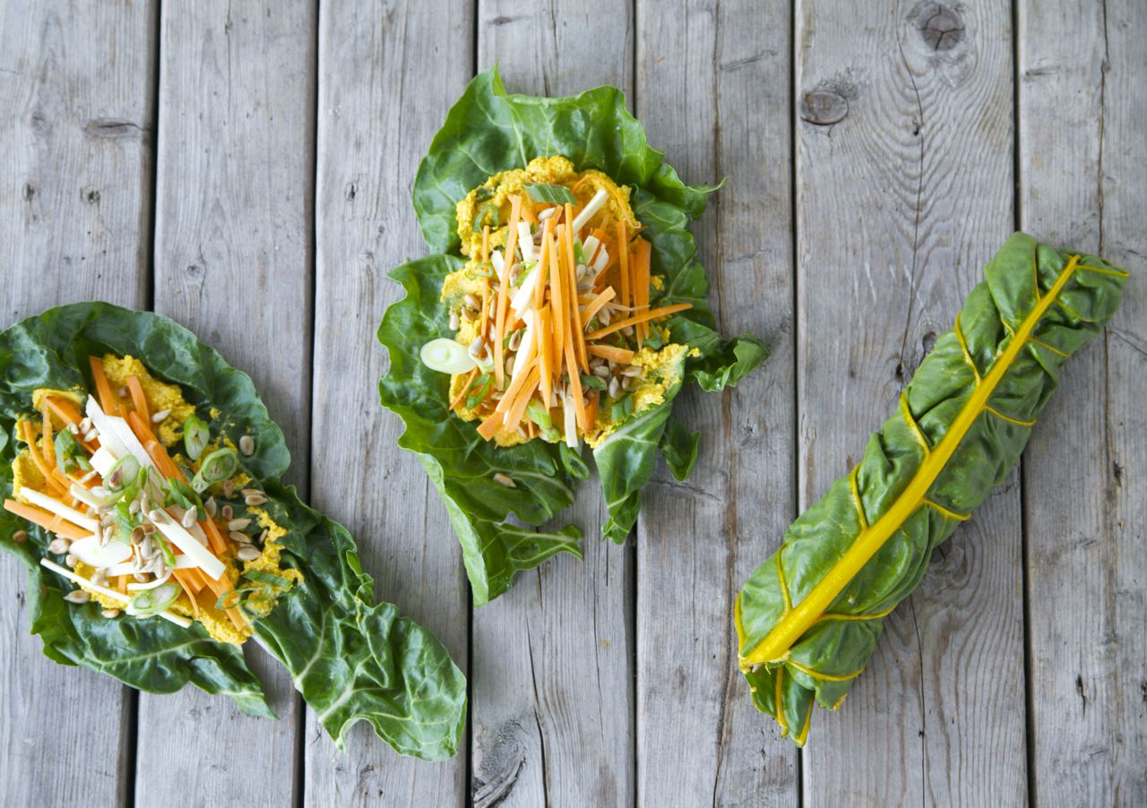 Swiss Chard Wraps with Spicy Peanut Sauce