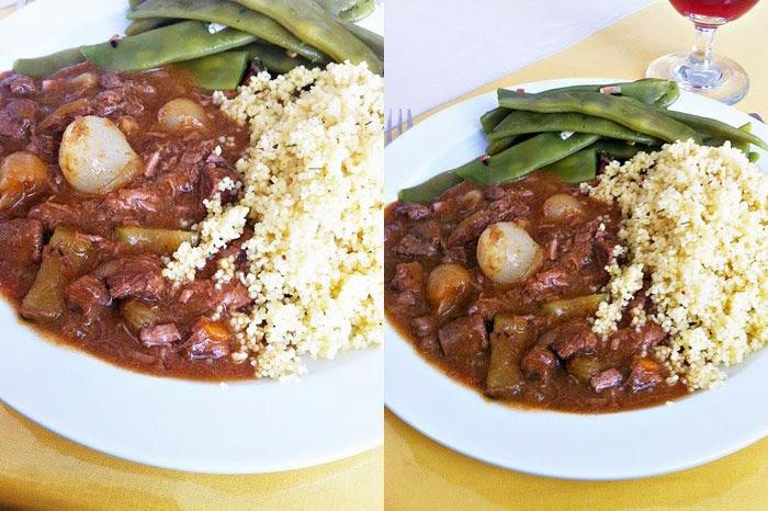 Lamm-Stifado mit Coucous und grünen Bohnen